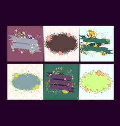 set of card templates with frames and flowers vector image