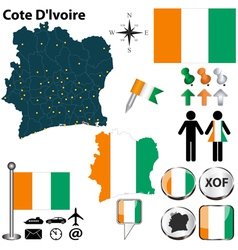 Cote dlvoire map vector
