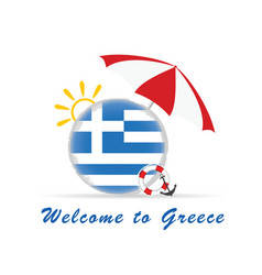 Welcome greece icon travel in colorful vector