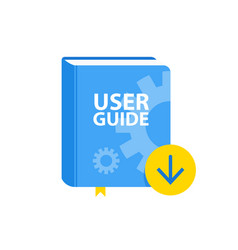 User guide book download icon flat vector