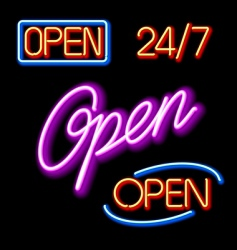 Set of glowing neon open signs vector