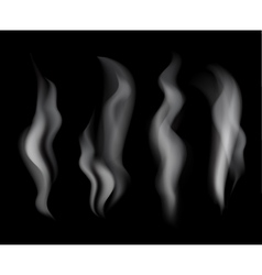 Smoke set on black background vector