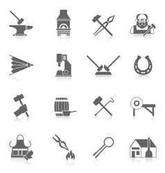 Blacksmith icon set vector