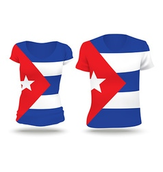Flag shirt design of cuba vector