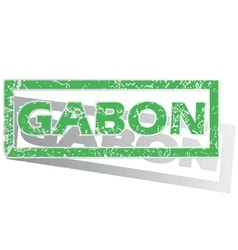 Green outlined gabon stamp vector