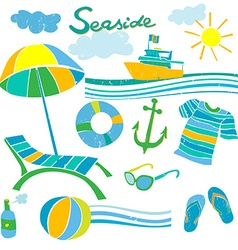 summer beach accessories vector image