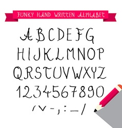 Abc - hand written sketched funky retro font - vector