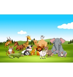 Wild animals in nature vector