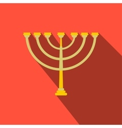 Gold hanukkah menorah flat icon vector