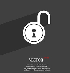 Open lock symbol flat modern web design with long vector