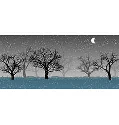 Forest in the dark mist snow trees silhouettes vector
