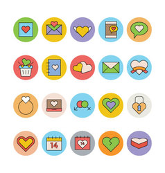 Love and romance colored icons 2 vector