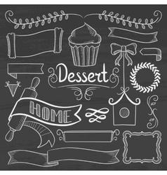 Set of ribbons frames for bakery menu vector