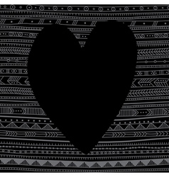 Black heart on ethnic pattern background vector