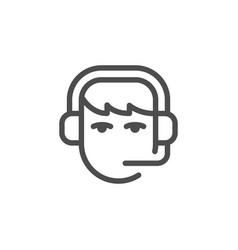 Call center operator line icon vector