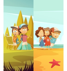 Camping kids vertical banners set vector