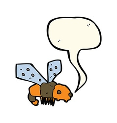 Cartoon bee with speech bubble vector