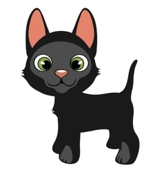 Cartoon black cat with green eyes pets vector image