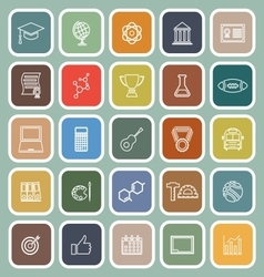 College line flat icons on green background vector image vector image