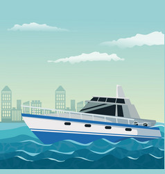 Color background city landscape with boat over vector