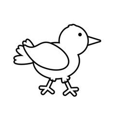 Cute bird comic icon outline vector