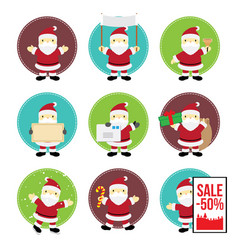 Cute chibi manga santa claus various pose vector
