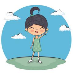 cute girl enjoying the summer vector image
