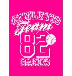 Female athletic team basebal design on pink vector image vector image