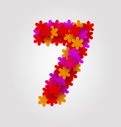 Floral numbers colorful flowers number 7 vector