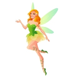 Flying and presenting fairy with wings in green vector image