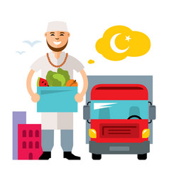 Food delivery flat style colorful cartoon vector