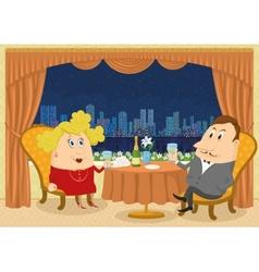 Gentleman and lady in Restaurant vector image vector image