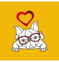 Hand draw cute dog pet with glasses heart vector