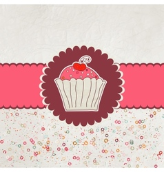 Happy birthday card cupcake eps 8 vector