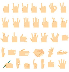 Icons and symbols hands wrist gestures signals vector