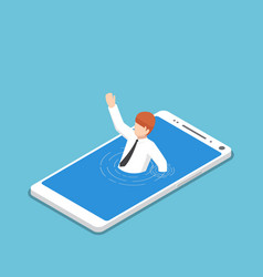 isometric businessman drowning in smartphone vector image vector image
