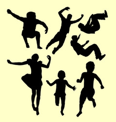 Jumping children action silhouette vector