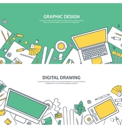 Lined ouline flat graphic web design Drawing and vector image vector image