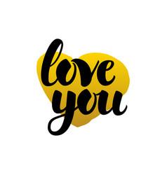love you handwritten lettering vector image vector image