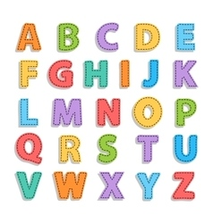 Needled alphabet isolated vector image