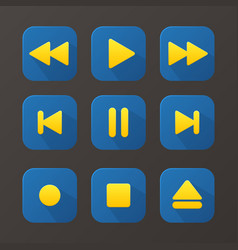 Player blue buttons set vector