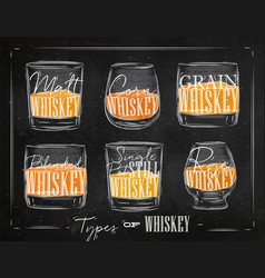 poster types whiskey color vector image vector image