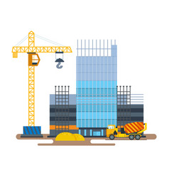 process building hotel with crane concrete mixer vector image vector image