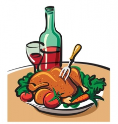 roast chicken and red wine vector image