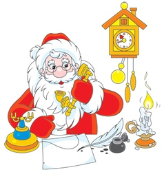 Santa claus calling on the phone vector