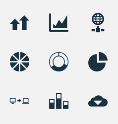 set of simple analysis icons vector image