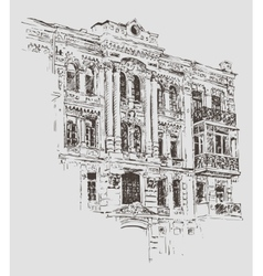 Sketch drawing of kiev historical building ukraine vector