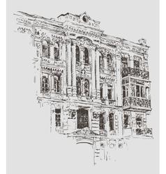 Sketch drawing of kiev historical building ukraine vector