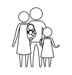 sketch silhouette of pictogram parents with a baby vector image