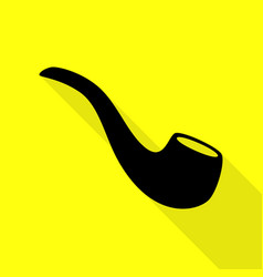 Smoke pipe sign black icon with flat style shadow vector